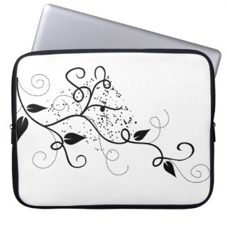 Vector ivy swirl branch girly chic floral nature laptop sleeve