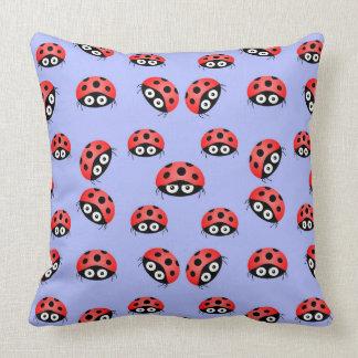 Vector  Ladybird on a blue background Throw Pillow