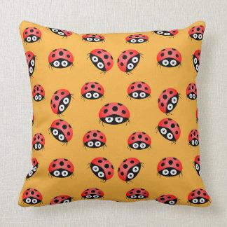 Vector  Ladybird on a brown background Throw Pillow