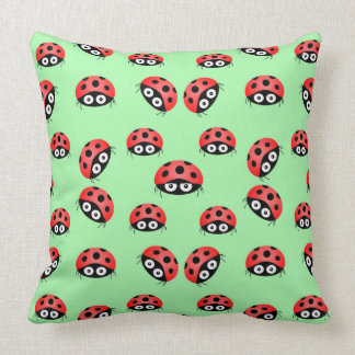 Vector  Ladybird on a green background. Throw Pillow