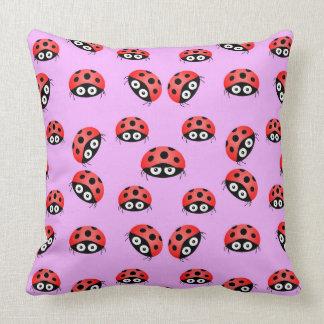 Vector  Ladybird on a purple background. Throw Pillow