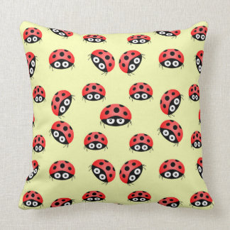 Vector  Ladybird on a yellow background. Throw Pillow