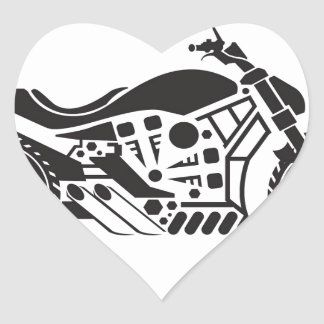 Vector Motorcycle Black simplified Heart Sticker