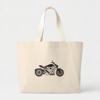 Vector Motorcycle Black simplified Large Tote Bag