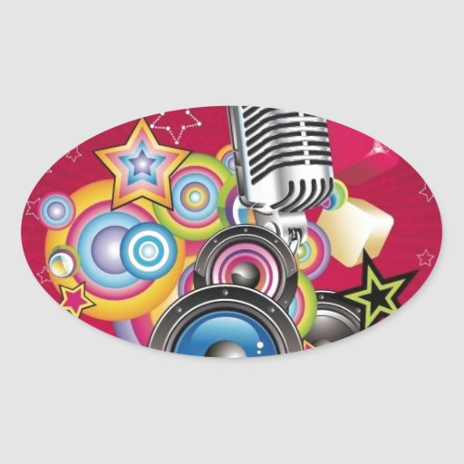 Vector-Music-Background-with-Speaker-and-Microphon Sticker