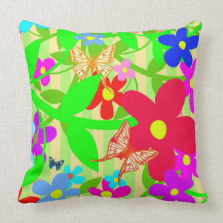 Vector of abstract flower with Butterflies Throw Pillow