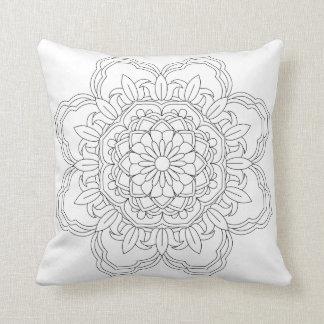 Vector ornate mandala illustration for coloring bo throw pillow