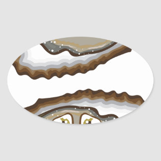 Vector Oysters Oval Sticker