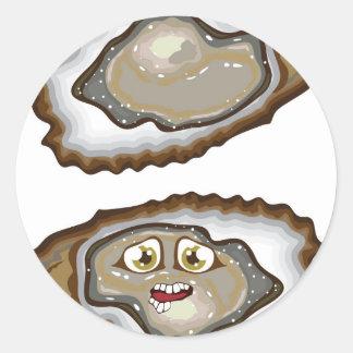Vector Oysters Round Sticker