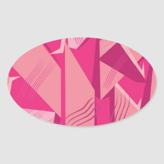 Vector Pink pattern Oval Sticker