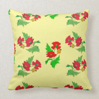 Vector seamless colourful poppy flower throw pillow