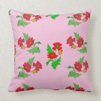 Vector seamless colourful poppy flower throw pillow