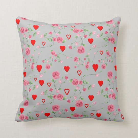 Vector Seamless rose and Hearts Throw Pillow