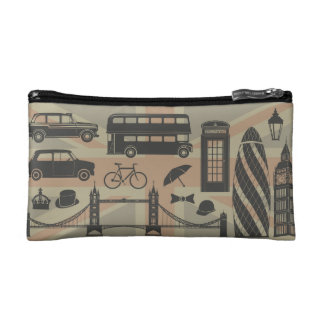 vector set of London landmarks Britain Cosmetic Bags