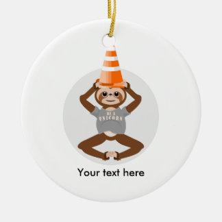Vector Sloth Be A Unicorn Round Ceramic Ornament