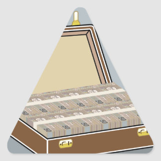 Vector Suitcase with Money Open Triangle Sticker