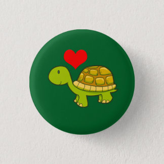 Vector tortoise with heart 1 inch round button