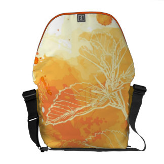 Vector Watercolor Background & Tropical Flowers Messenger Bags