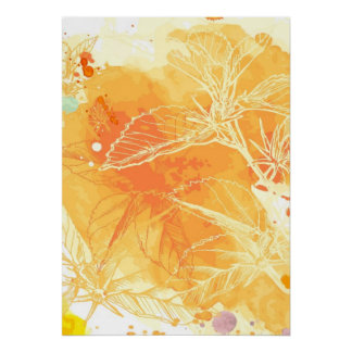 Vector Watercolor Background & Tropical Flowers Poster