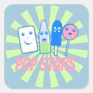 Vedette de pop sticker carré