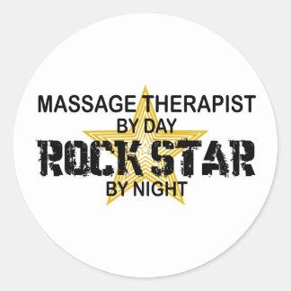 Vedette du rock de thérapeute de massage sticker rond