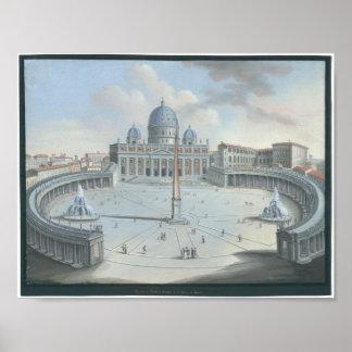 Veduta del Tempio e Piazza di S. Pietro a Roma Poster