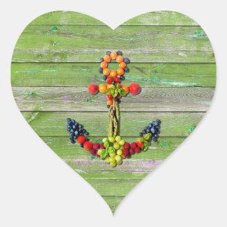VEGAN ANCHOR Green Wood Wall Heart Sticker
