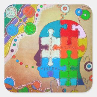 Vegan animal puzzle human vegetable mineral square sticker