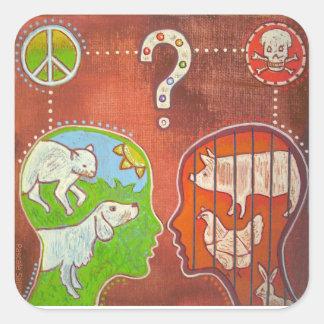 Vegan anti speciesism square sticker