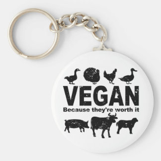 VEGAN because they're worth it (blk) Keychain