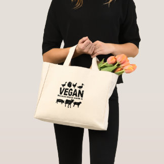 VEGAN because they're worth it (blk) Mini Tote Bag