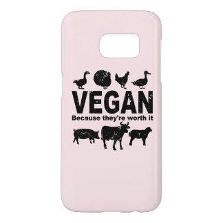 VEGAN because they're worth it (blk) Samsung Galaxy S7 Case