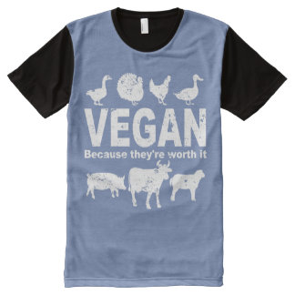 VEGAN because they're worth it (wht) All-Over-Print T-Shirt