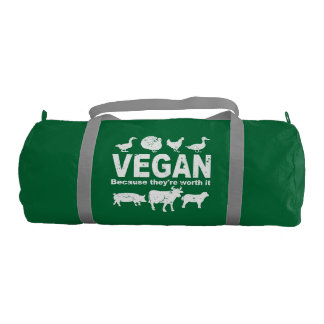 VEGAN because they're worth it (wht) Gym Bag