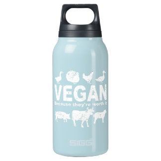 VEGAN because they're worth it (wht) Insulated Water Bottle