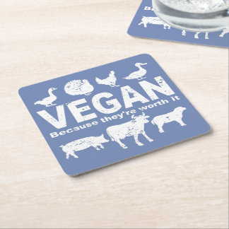 VEGAN because they're worth it (wht) Square Paper Coaster