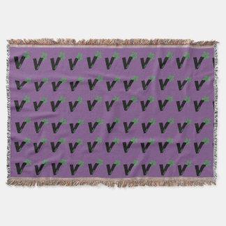 Vegan Blanket Throw Purple Flower Style