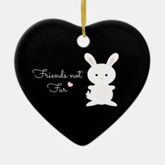 "Vegan Bunny ""Friends Not Fur"" Ceramic Ornament"