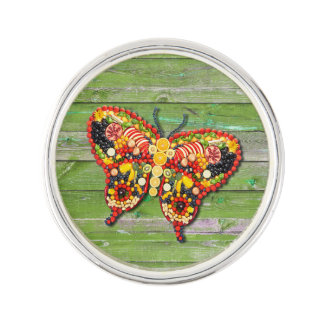 VEGAN Butterfly Green Wood Wall Lapel Pin