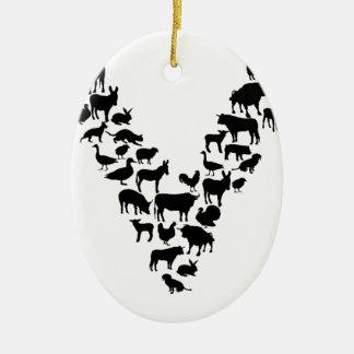 Vegan Ceramic Oval Ornament