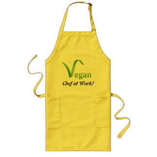 Vegan Chef at Work Yellow long Apron