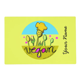 Vegan chef: customise kids name laminated place mat