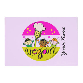 Vegan chef: customise kids name laminated placemat