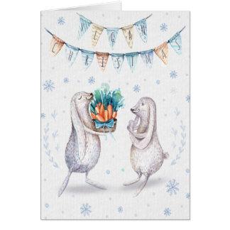 Vegan Christmas Greeting / rabbits Note Card