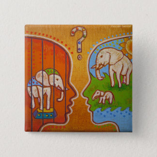 Vegan circus swipes in 2 inch square button