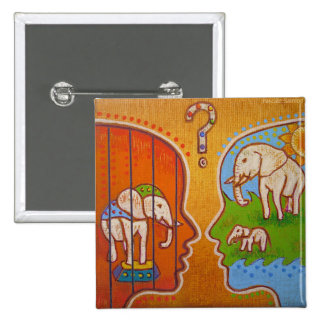 Vegan circus swipes in 2 inch square button