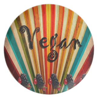 Vegan Colorful Folk Art Plate