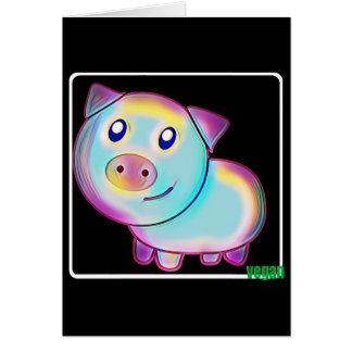 Vegan coloured Pig Card