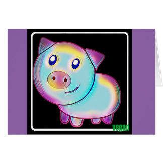 Vegan coloured pig card