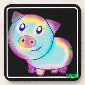 Vegan coloured pig coasters